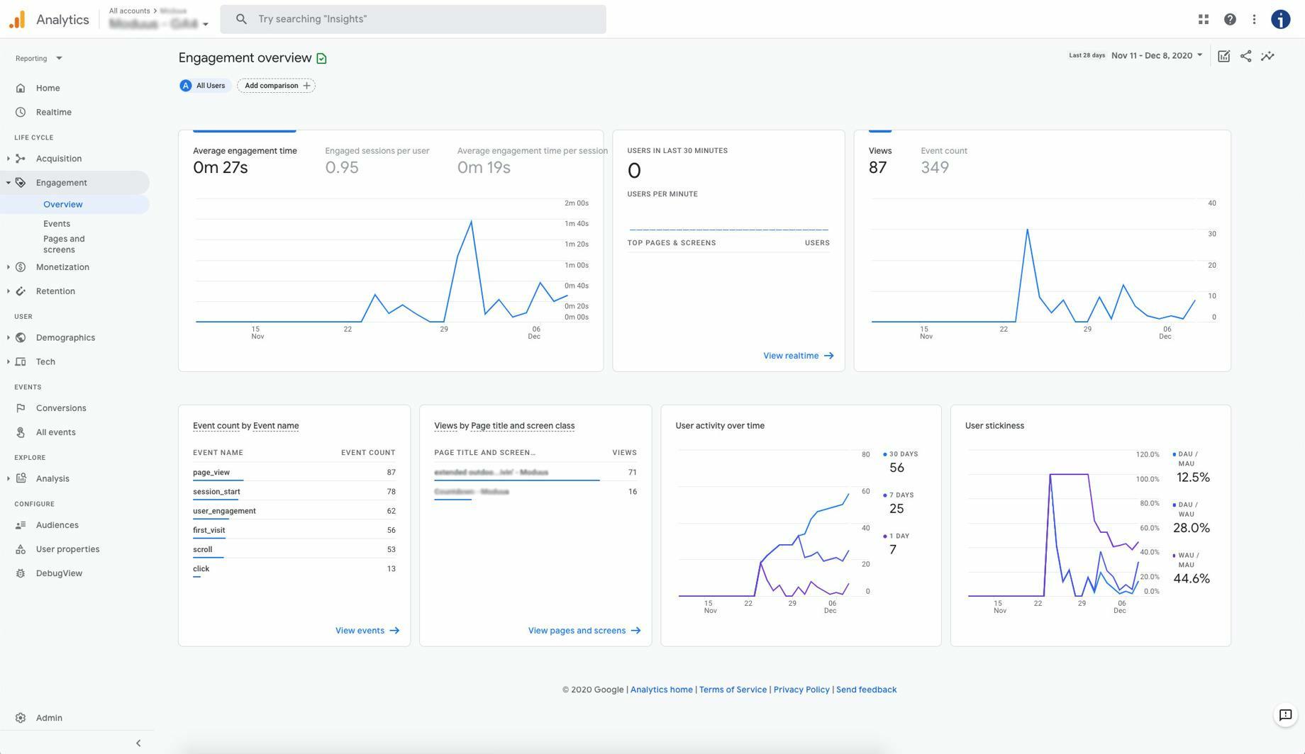 Google Analytics 4 engagement interface